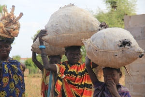 Women and girls carry charcoal in Uganda (Photo: C. Tsimpo)